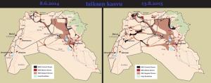 Liittouman sotatoimien alkamisen jälkeen Isis on laajentanut hallitsemiaan alueita huomattavasti.